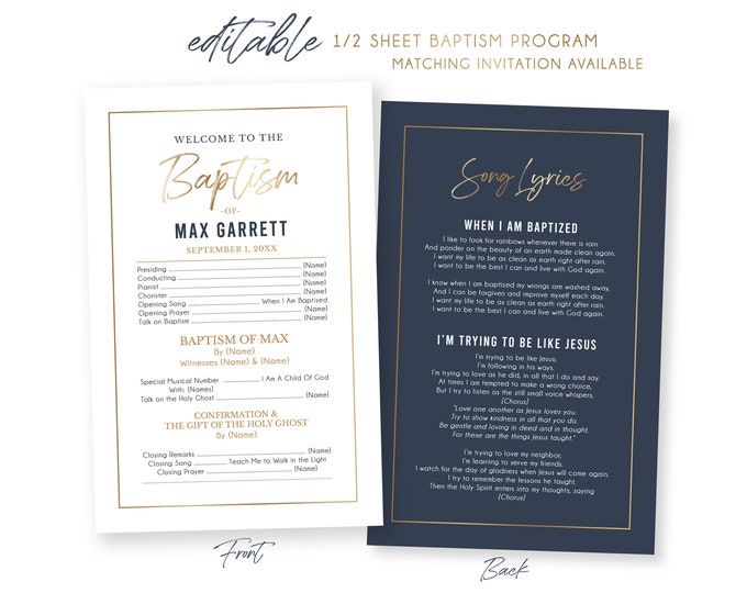 LDS Baptism Program | 1/2 Sheet Baptism Program Boy | Baptism Program Template | LDS Baptism | Boy Baptism Programs Photoshop