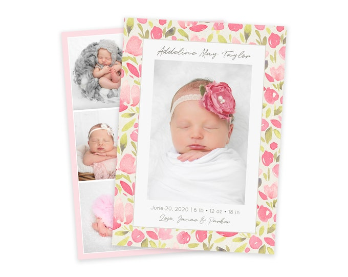Pink Floral Birth Announcement Template - Girl Baby Announcement - Newborn Template for Photoshop - Photographer Template