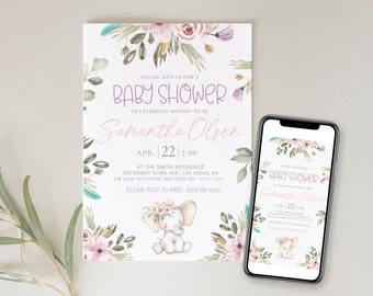 Baby Shower Invitation | Baby Shower Evite | Baby Shower Card Girl Elephant | Baby Shower Animals  | Digital Baby Invite | Purple | Corjl