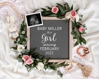 Edit Yourself Baby Girl Announcement for Social Media   Digital Pregnancy Announcement   It's a girl   Gender Reveal   Letterboard   Corjl