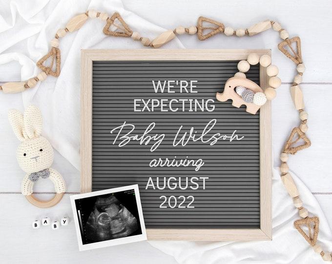 Digital Pregnancy Announcement | Gender Neutral | Editable Letter Board for Social Media | Digital Baby Reveal | Instagram Pregnancy | Corjl