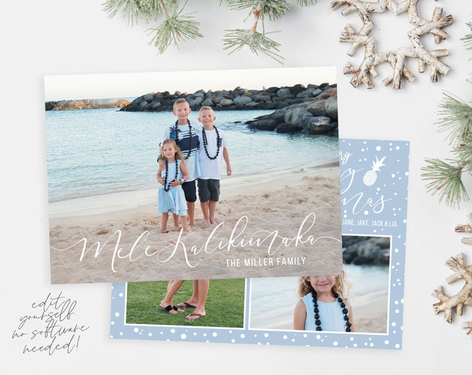 Mele Kalikimaka Christmas Card Template | Photo Christmas Cards | Editable Christmas Card | Christmas Card Template 5x7 | Corjl