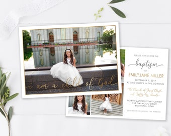 LDS Baptism Invitation - Baptism Invitation Template - Girl Floral Baptism Invitation - Printable Invitation - The Church of Jesus Christ