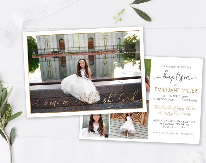 LDS Baptism Invitation | LDS Baptism Invitation Girl | Baptism Invitation | LDS Baptism | Baptism Invitations Girl