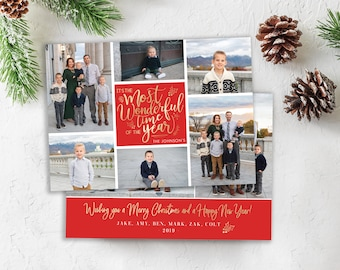 Christmas Card Template - It's the Most Wonderful Time of the Year - Photo Card Template - Gold Christmas Card - Editable Christmas Card