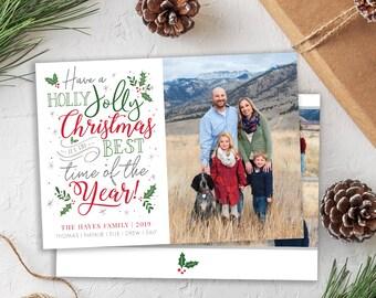Christmas Card Template - Holiday Card - Holly Jolly Christmas Card - Merry Christmas - Photo Card Template - Editable Christmas Card