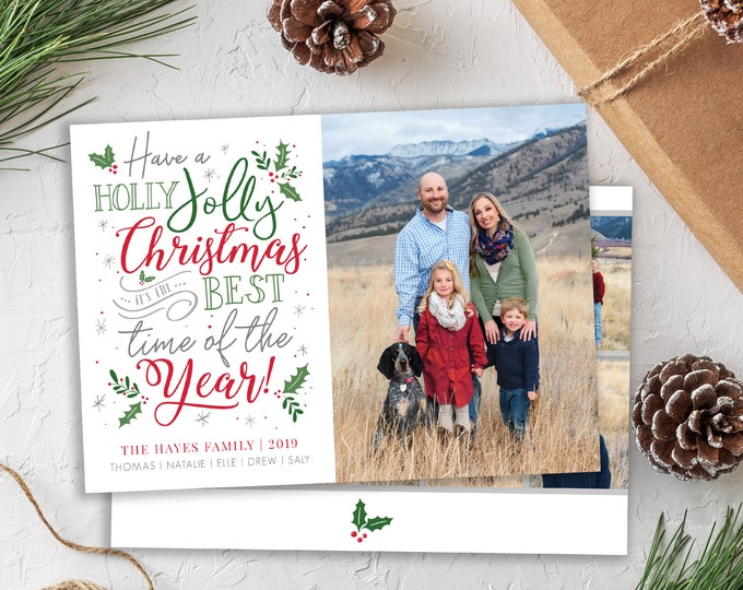 Christmas Card Template - Holiday Card - Holly Jolly Christmas Card - Merry Christmas - Photo Card Template - Editable Christmas Card