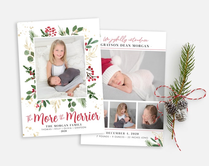 Christmas Birth Announcement Template - More and Merrier - Christmas Template for Photoshop - Photographer Template - Digital Design
