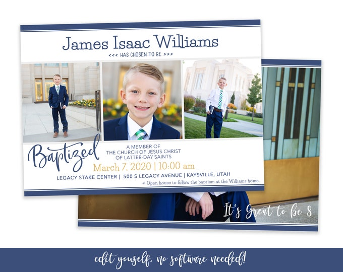 LDS Baptism Invitation Boy - Baptism Invitation - Boy Baptism Invitation Template - Baptism Announcement - Corjl Baptism Invitation - DIY