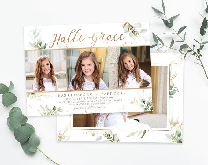 LDS Baptism Invitation - Baptism Invitation Template - Girl Floral Baptism Invitation - Printable Invitation - The Church of Jesus Christ