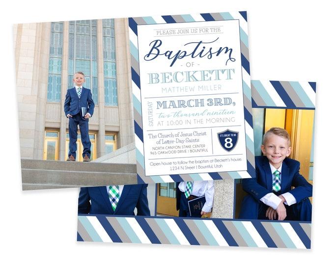 LDS Baptism Invitation - Baptism Invitation - Boy Baptism Invitation - Photographer Template - It's Great to be Eight