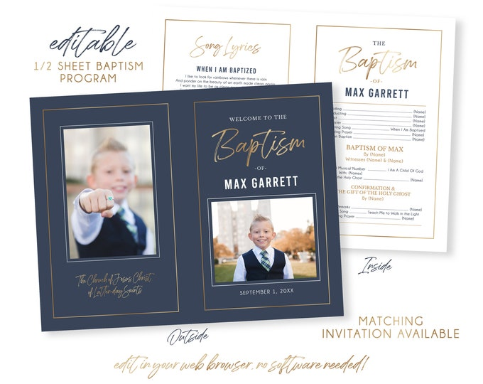 LDS Baptism Program | Baptism Program Boy | LDS Baptism Programs | Baptism Program Template | LDS Baptism | Boy Baptism Program | Corjl
