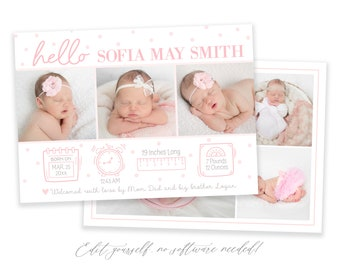 Baby Birth Announcement Template Girl | Newborn Stats Announcement | Girl Birth Announcement | Photo Birth Announcement | Dots | Corjl