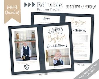 Boy Baptism Program - LDS Baptism Program - Editable Program - Boy Program Instant Download - Photo Program - Boy Baptism Program Template