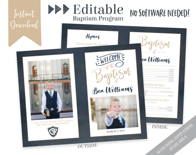 Boy Baptism Program - LDS Baptism Program - Editable Program - Boy Program Instant Download - Photo Program - Boy Baptism Program Template
