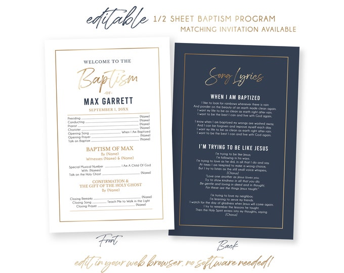 Baptism Program LDS | 1/2 Sheet Baptism Program Boy | LDS Baptism Program | Program Template | LDS Baptism | Boy Baptism Program | Corjl