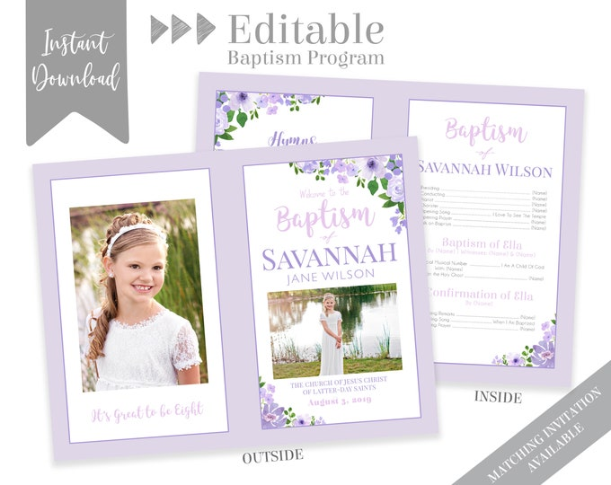 Baptism Program Girl, LDS Baptism Program, Editable PDF & Photoshop , Floral Program Instant Download , Photo, Girl Baptism Program Template