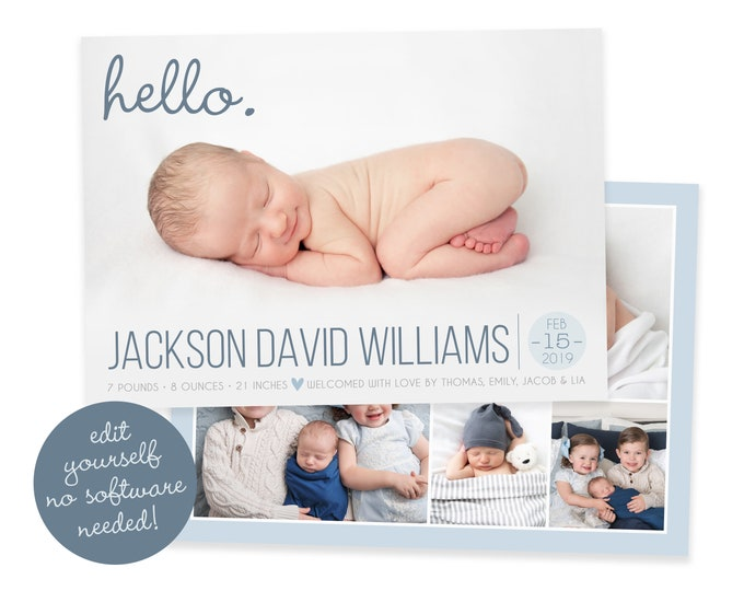 Baby Boy Birth Announcement Template - Newborn Announcement - Boy Birth Announcement - Photo Birth Announcement Card - DIY Template - Corjl