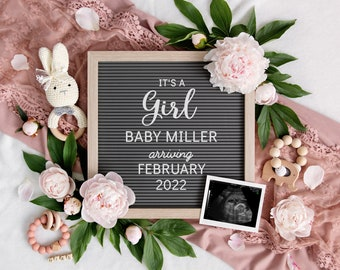 Baby Girl Announcement for Social Media   Digital Pregnancy Announcement   It's a girl   Gender Reveal   Baby Letterboard Instagram   Corjl