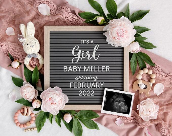 Baby Girl Announcement for Social Media | Digital Pregnancy Announcement | It's a girl | Gender Reveal | Baby Letterboard Instagram | Corjl