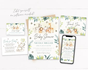 Jungle Safari Baby Shower Invitation Kit | Editable Baby Shower Invite | Elephant Baby Shower | Books For Baby | Diaper Raffle | Corjl
