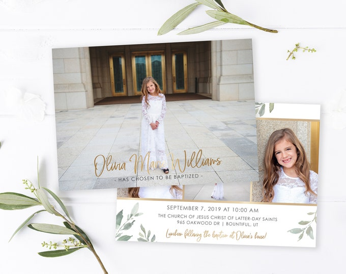 LDS Baptism Invitation | LDS Baptism Invitation Girl | Baptism Invitation | LDS Baptism | Baptism Invitations Girl | Baptism Template