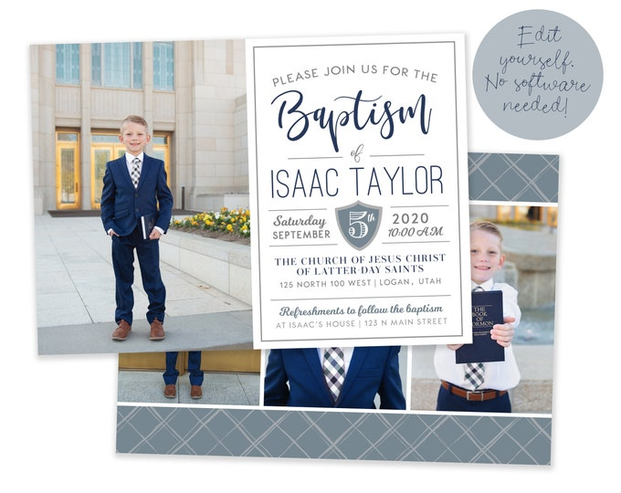LDS Boy Baptism Invitation - Baptism Invitation – DIY Baptism Invitation Template - LDS  Baptism Announcement - Boy Baptism Invitation
