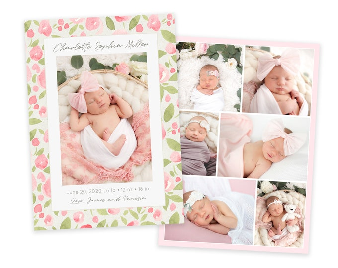 Watercolor Floral Birth Announcement Template - Girl Baby Announcement - Newborn Template for Photoshop - Photographer Template