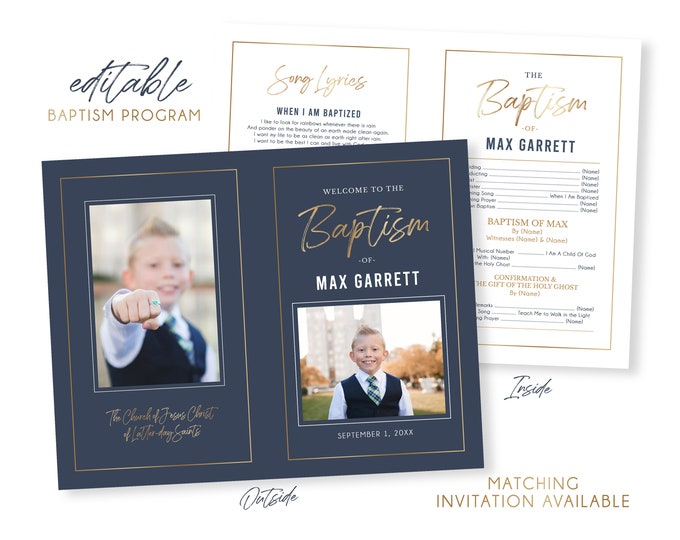 LDS Baptism Program | Baptism Program Boy | LDS Baptism Programs | Baptism Program Template | LDS Baptism | Boy Baptism Program Photoshop