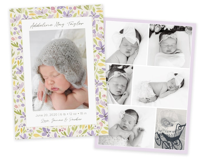 Birth Announcement Template - Lavender Floral Birth Announcement Template - Girl Baby Announcement - Newborn Template for Photoshop