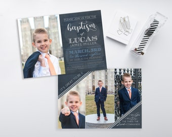 LDS Baptism Invitation - CTR Baptism Invitation - Boy Baptism Invitation - Photographer Template