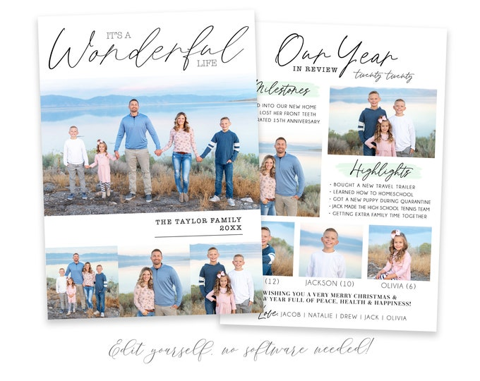 Year In Review Christmas Card Template | Christmas Cards Template 5x7 | Photo Christmas Card | Holiday Card Templates | Corjl