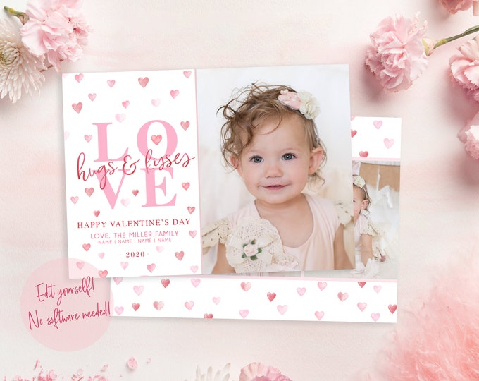 Valentine's Day Card Template | Valentine's Day DIY Template | Valentine's Day Photo Card | Instant Download | Love | Hugs and Kisses