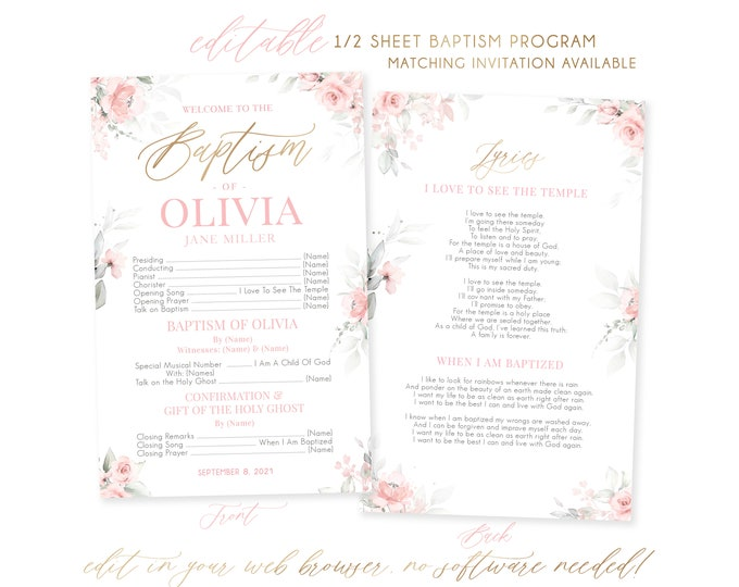 LDS Baptism Program | 1/2 Sheet Baptism Program Girl | LDS Baptism Programs | Floral Program Template | Girl Baptism Program | Corjl