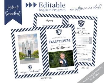 LDS Baptism Program   Baptism Program Boy   LDS Baptism Program   Baptism Program Template   LDS Baptism   Boy Baptism Program   Corjl