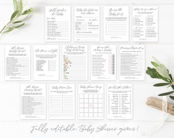 Printable Baby Shower Games | Baby Shower Games Bundle | Minimal Gender Neutral | Instant Download | Baby Shower Games Template Pack | Corjl