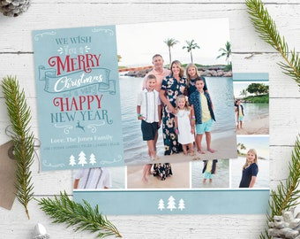 Christmas Card Template - Merry Christmas and Happy New Year - Photo Christmas Template - Photographer Template - Digital Design