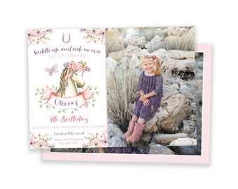 Horse Party Invitation, Horse Party Invite, Horse Birthday Invitation, Pony, Photo Horse Invitation, Girl Birthday Invitation