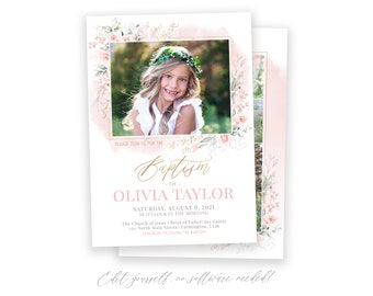 LDS Baptism Invitation | Floral Baptism Invitation Girl | Baptism Invite | LDS Baptism Announcement | Baptism Invitations Girl | Corjl