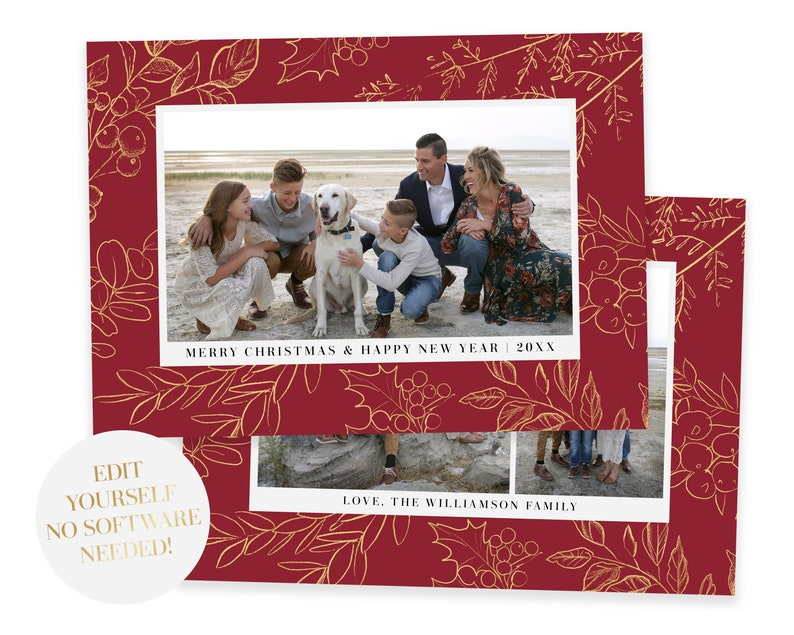 Christmas Card Template  Christmas Cards Template 5x7  Photo image 0