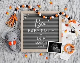 Halloween Digital Pregnancy Announcement | Digital Baby Announcement | October Pregnancy Announcement | Social Media Gender Reveal  | Corjl