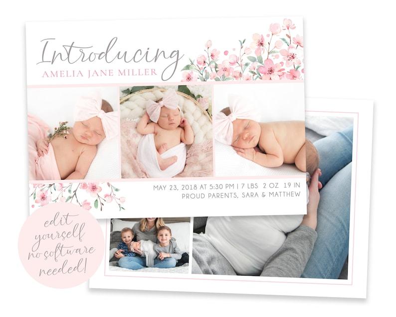 Baby Birth Announcement Template Girl  Newborn Announcement  image 0