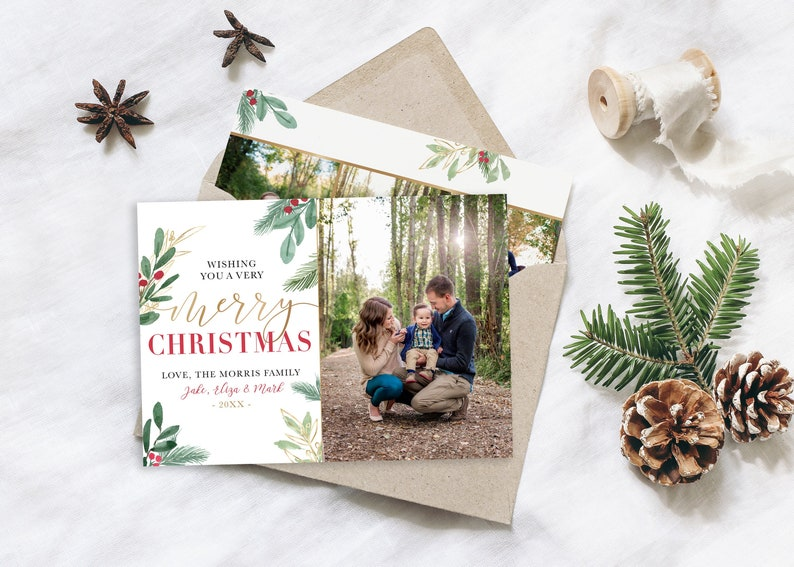 MERRY Christmas Card Template  5x7 Photo Christmas Card  image 0