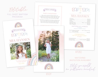 Rainbow LDS Baptism Program - Baptism Program LDS Girl - Editable Rainbow Program - Instant Download - Baptism Program Template - Corjl