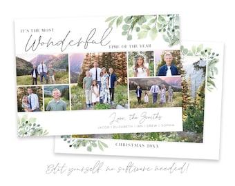 Greenery Christmas Card Template | Christmas Cards Template 5x7 | Photo Card | Editable Christmas Card | Holiday Card Templates | Corjl