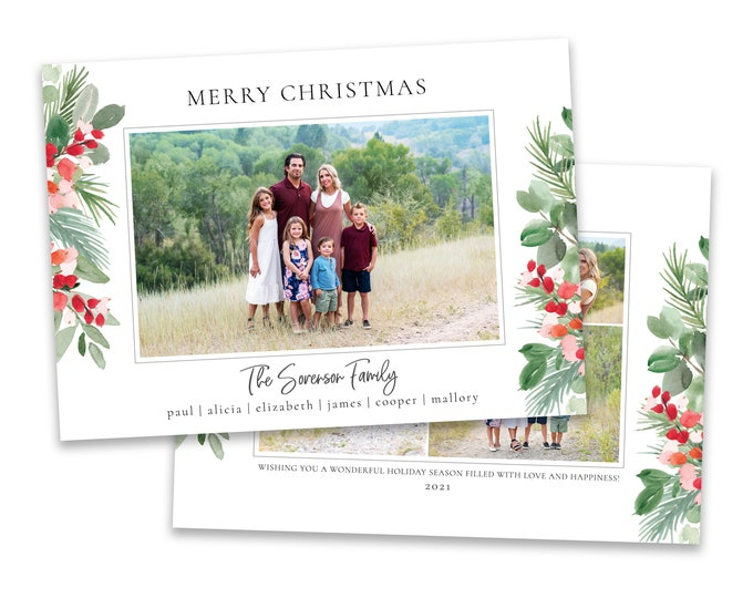 Christmas Card Template   Christmas Cards Template 5x7   Photo Christmas Card   Editable Christmas Card   Holiday Card Templates   Photoshop