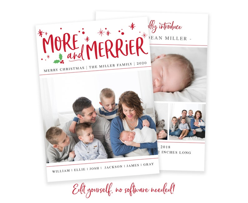 Christmas Birth Announcement  The More The Merrier Christmas image 0