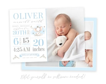 Baby Boy Birth Announcement Template - Newborn Announcement - Boy Birth Announcement - Photo Birth Announcement Card -Blue Elephant - Corjl