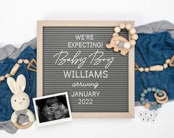 Boy Digital Pregnancy Announcement | Boy Gender Reveal | Editable Letter Board for Social Media | Instagram Gender Announcement | Corjl