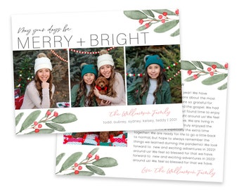 Christmas Card Template | Christmas Cards Template 5x7 | Year In Review | Editable Christmas Card | Holiday Card Templates | Photoshop